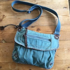 Fossil Blue & Floral Canvass Cross Body Bag